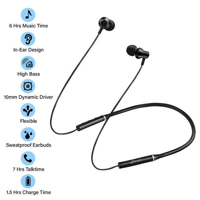 pTron InTunes Beats In-Ear Magnetic Stereo Wireless Neckband with Mic - (Black)