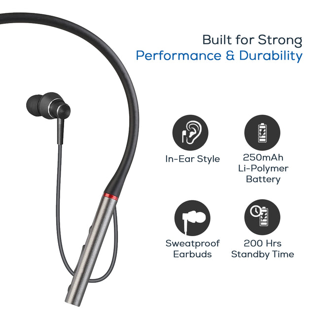 pTron InTunes Classic Wireless Earphones with 15Hrs Playback & Selfie Button - (Grey/Black)
