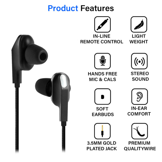 pTron Boom One In-Ear Stereo Sound Wired Earphones with Mic & Volume Control - (Black)