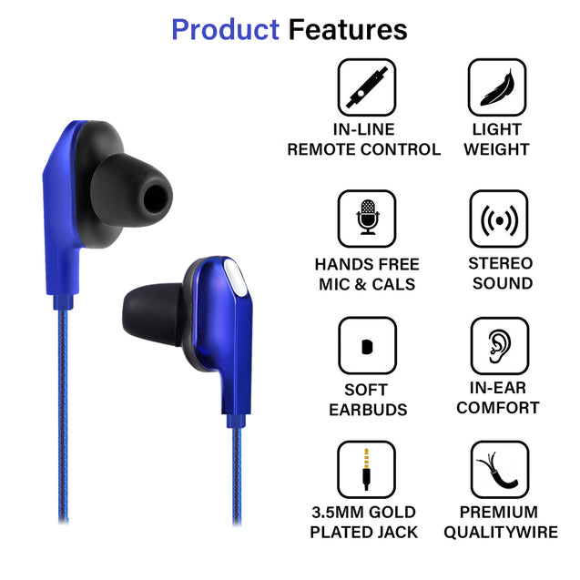 pTron Boom One In-Ear Stereo Sound Wired Earphones with Mic & Volume Control - (Blue)