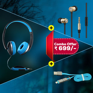 Best Combo Offer PTron Rebel, Unison Headphones & 2 in 1 USB To Micro USB & Lightning Data Cable