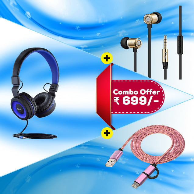 Best Combo Offer PTron Mamba Stereo Wired Headphone & Unison In-Ear Headphone With Noise Cancellation & 2 In 1 USB To Micro USB Data Cable