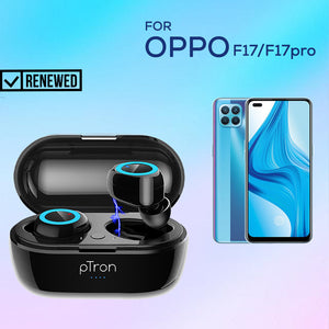 Refurbished - pTron Bassbuds True Wireless Stereo Bass Bluetooth Earbuds with Mic For Oppo F17/17 Pro- (Black)