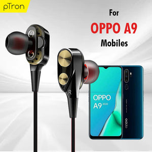 PTron Boom Evo 4D Earphone Deep Bass Stereo Sport Wired Headphone For Oppo A9 (Black/Gold)