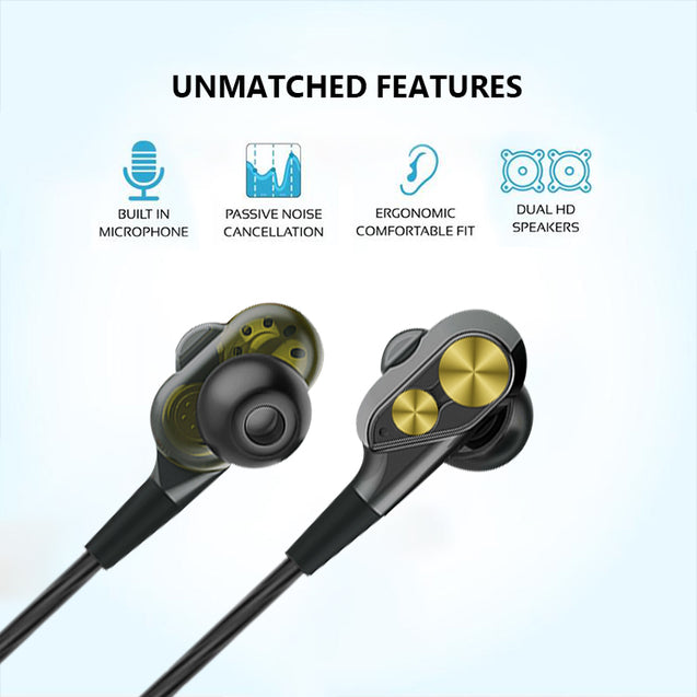 PTron Boom Evo 4D Earphone Deep Bass Stereo Sport Wired Headphone For Oppo F7 (Black/Gold)