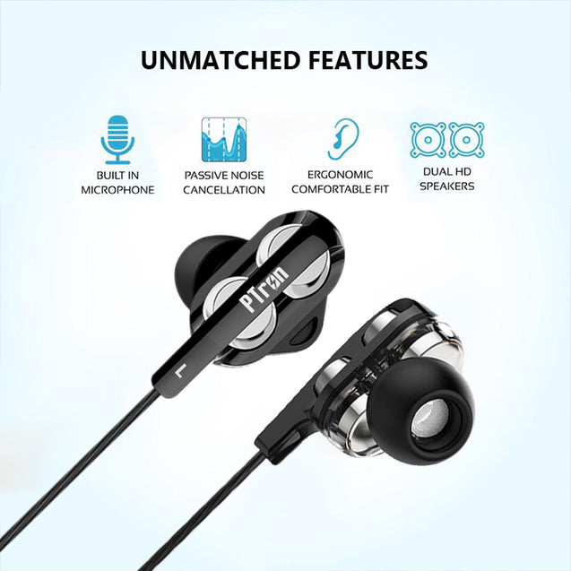 pTron Boom Pro 4D Deep Bass Dual Driver Wired Earphones with Mic for All Infinix Smartphones - (Black)