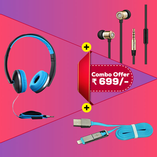 Best Combo Offer for Oppo F11/F11 Pro PTron Rebel, Unison Stereo Wired Headphones With Mic & 2 In 1 Lightning Data Cable USB To Micro USB