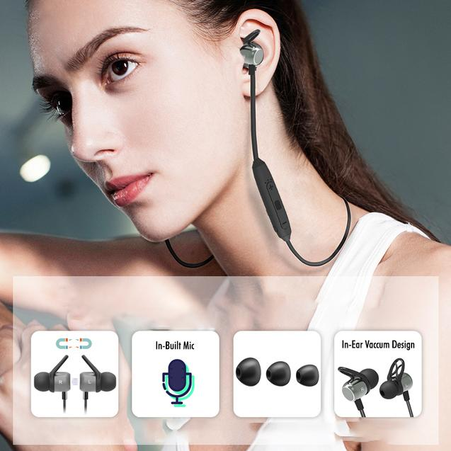 PTron InTunes Evo Bluetooth 5.0 Sports Magnetic Earphones with Mic for All Smartphones (Grey/Black)