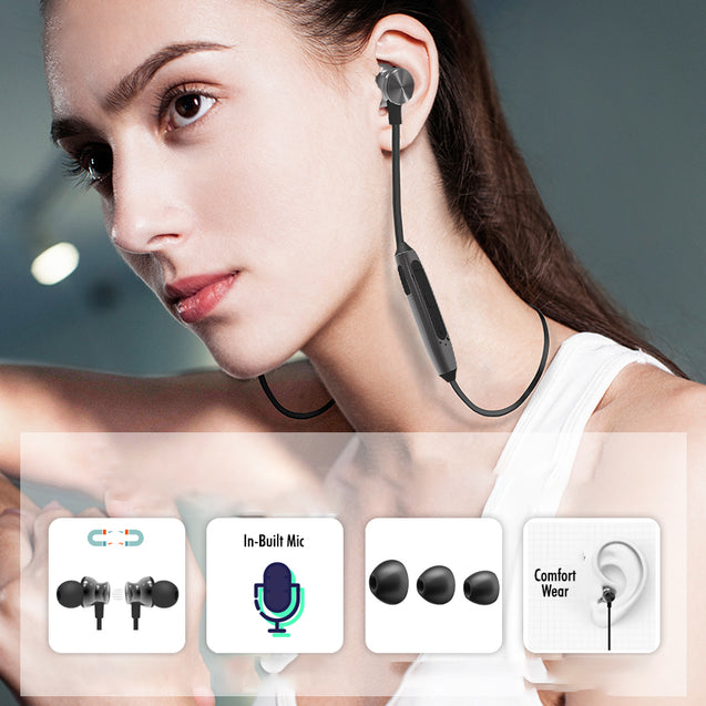 PTron InTunes Pro Magnetic Bluetooth Earphones With Mic For Redmi Note8/8Pro (Grey/Black)
