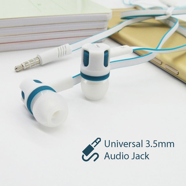 pTron HBE Melo Stereo Sound 3.5mm Audio Jack Wired Earphones with Mic - (Blue/White)