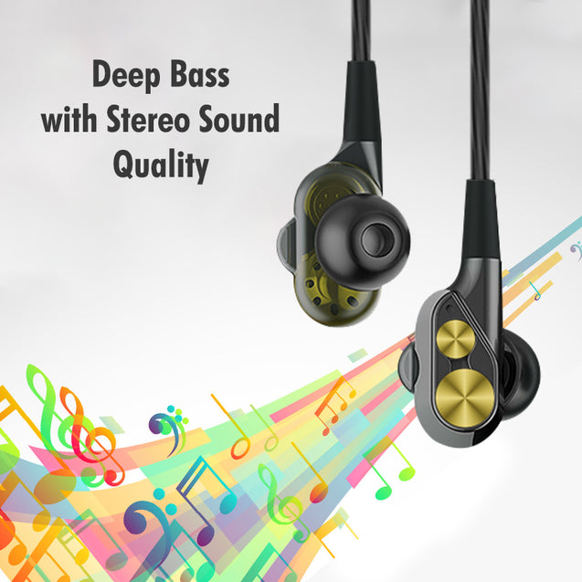 PTron Boom 2 4D Earphone Deep Bass  Sport Wired Headphone For All Infinix Smartphones (Black/Gold)