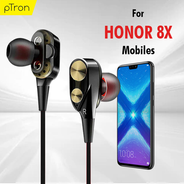 PTron Boom 2 4D Headphones Deep Bass Stereo Wired Headset For Honor 8X (Black/Gold)