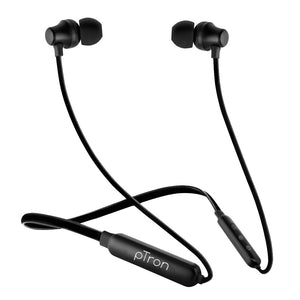 pTron Tangent Lite Bluetooth 5.0 Wireless Headphones with Hi-Fi Stereo Sound Magnetic Earbuds, Voice Assistant & Mic - (Black)