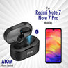 pTron Atom Bluetooth 5.0 Mono Earbud with 180mAh Charging Case Redmi Note 7/7pro (Black)