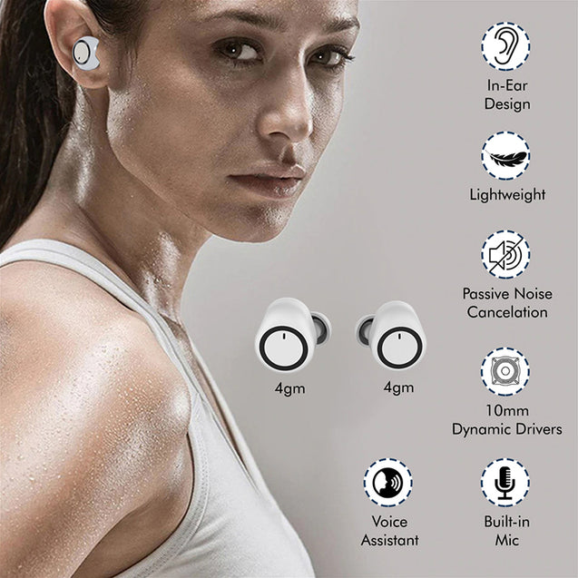 pTron Bassbuds True Wireless Bluetooth Headphones (TWS) with Mic - (White)