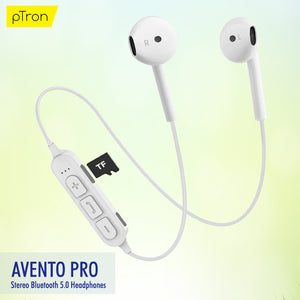 PTron Avento Pro Bluetooth 5.0 Stereo Bluetooth Headphones With TF Slot For All Smartphones (White)