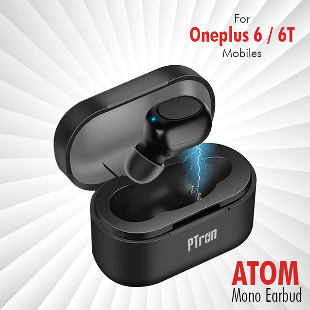 pTron Atom Bluetooth 5.0 Mono Earbud with 180mAh Charging Case For Oneplus 6/6T Mobiles (Black)