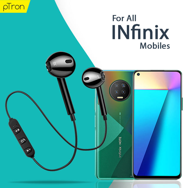 PTron Avento Bluetooth Headphones In-Ear Wireless Headset For All Infinix Smartphones (Black)