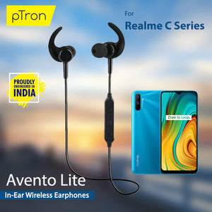 pTron Avento Lite High Bass In-Ear Stereo Wireless Earphones For Realme C Series Smart Phones- (Black)