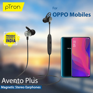 pTron Avento Plus Bluetooth 5.0 Magnetic Stereo Headphones for All OPPO Smartphones - (Grey/Black)