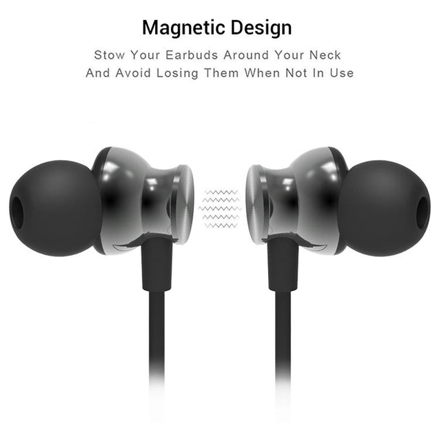 PTron InTunes Pro Magnetic Bluetooth Earphones With Mic For Oppo A9 (Grey/Black)