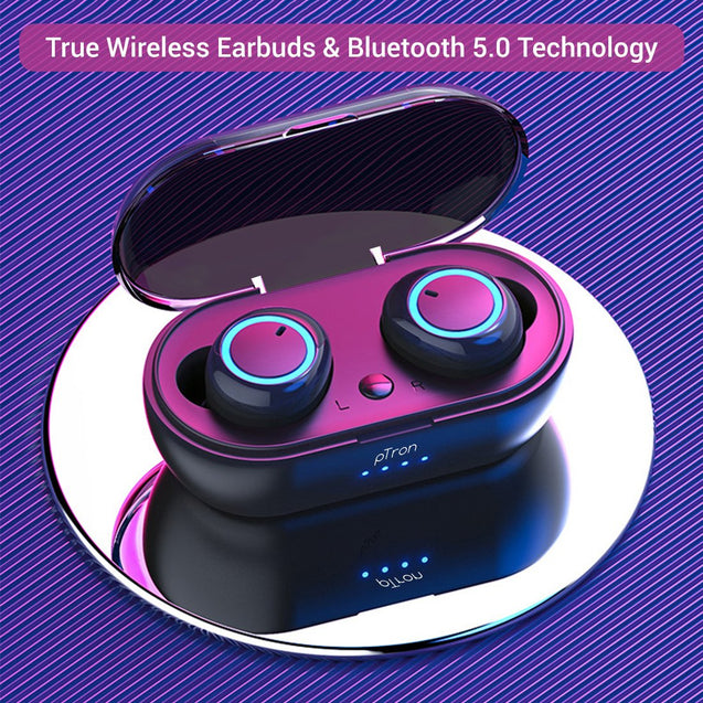 Refurbished - pTron Bassbuds True Wireless Stereo Bass Bluetooth Earbuds with Mic - (Black)