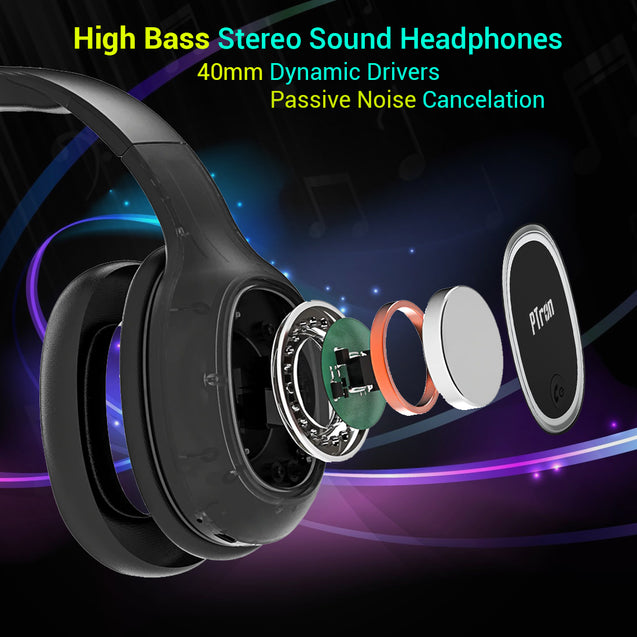 pTron Soundster Lite Over-Ear Bluetooth Headset with High Bass & 12Hrs Playback Time - Black