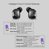 pTron Bassbuds Urban True Wireless Stereo Earbuds with Deep Bass & Touch Control (Black)