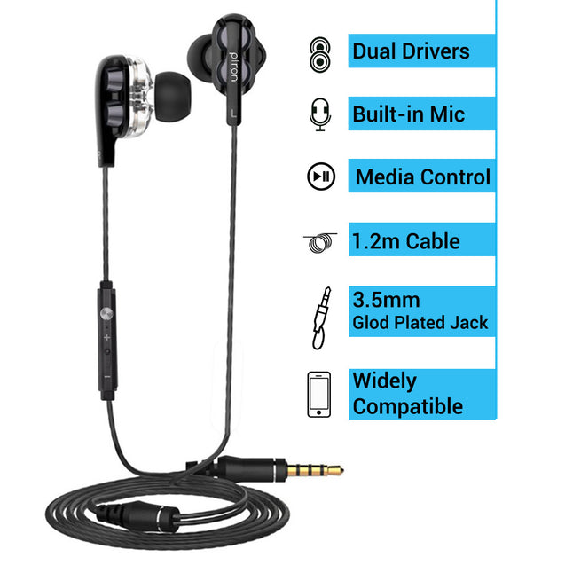 PTron Boom Ultima 4D Deep Bass Stereo Earphones Dual Driver Sports Headset with Mic for All Smartphones