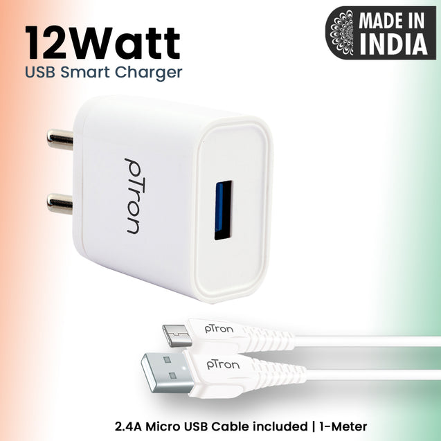 pTron Volta 12W Single USB Smart Charger with 2.4A Micro USB 1-Meter Cable, Made in India, BIS Certified Fast Charging Power Adaptor - (White)