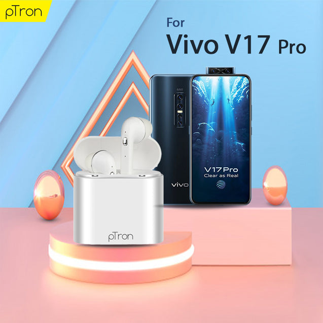 pTron Bassbuds Lite In-Ear True Wireless Bluetooth Earphones (TWS) with Mic For Vivo V17 Pro - (White)