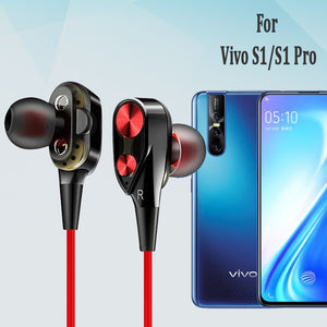 PTron Boom 2 4D Earphone Deep Bass Stereo Wired Headphone With Mic For Vivo S1/S1Pro (Black/Red)