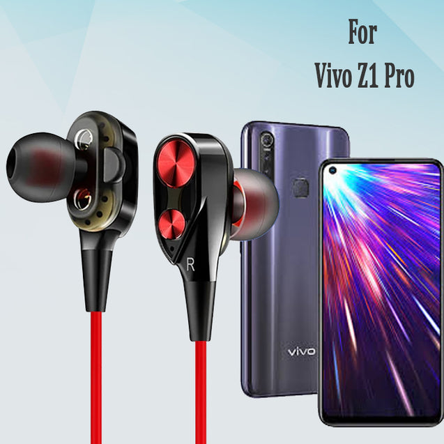 Boom 2 4D Earphone Deep Bass Stereo Wired Headphone With Mic For  Vivo Z1 Pro (Black/Red)