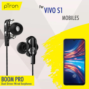 pTron Boom Pro 4D Deep Bass Dual Driver Wired Earphones with Mic for Vivo S1 - (Black)