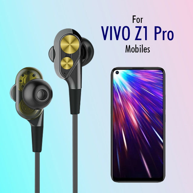 PTron Boom 2 4D Earphone Deep Bass  Sport Wired Headphone For  Vivo Z1 Pro (Black/Gold)
