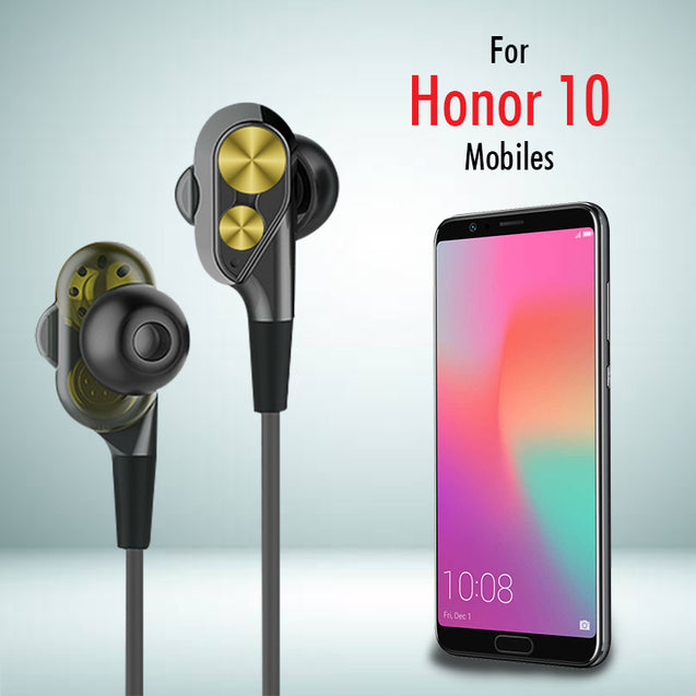 PTron Boom Evo 4D Headphones Deep Bass Stereo Wired Headset For Honor 10 (Black/Gold)
