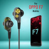 PTron Boom 2 4D Earphone Deep Bass Stereo Sport Wired Headphone For Oppo F7 (Black/Gold)