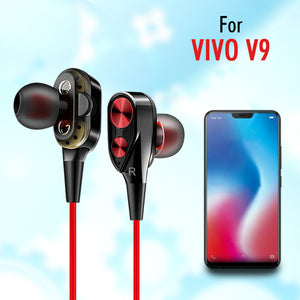 Boom 2 4D Earphone Deep Bass Stereo Wired Headphone With Mic For Vivo V9 (Black/Red)