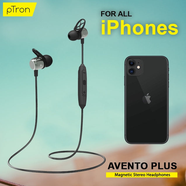 pTron Avento Plus Bluetooth 5.0 Magnetic Stereo Headphones for All IOS Smartphones - (Grey/Black)