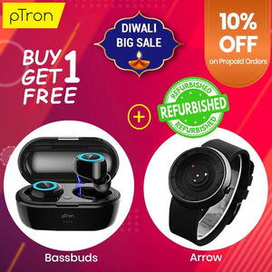 Buy Refurbished PTron Bassbuds True Wireless Bluetooth Earbuds, Get DaZon Arrow Wrist Watch Free