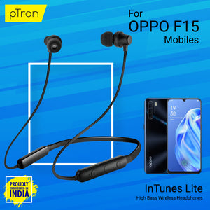 pTron InTunes Lite High Bass In-Ear Wireless Headphones with Mic For OPPO F15 - (Black)