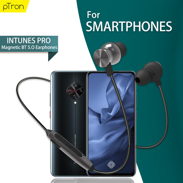 PTron InTunes Pro Magnetic Bluetooth Earphones With Mic For All Smartphones (Grey/Black)