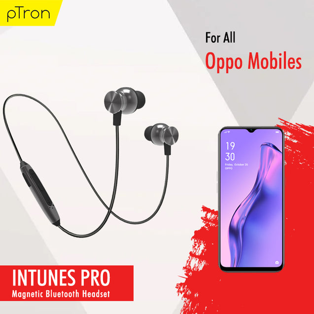 PTron InTunes Pro Magnetic Bluetooth Earphones With Mic For All Oppo Smartphones (Grey/Black)