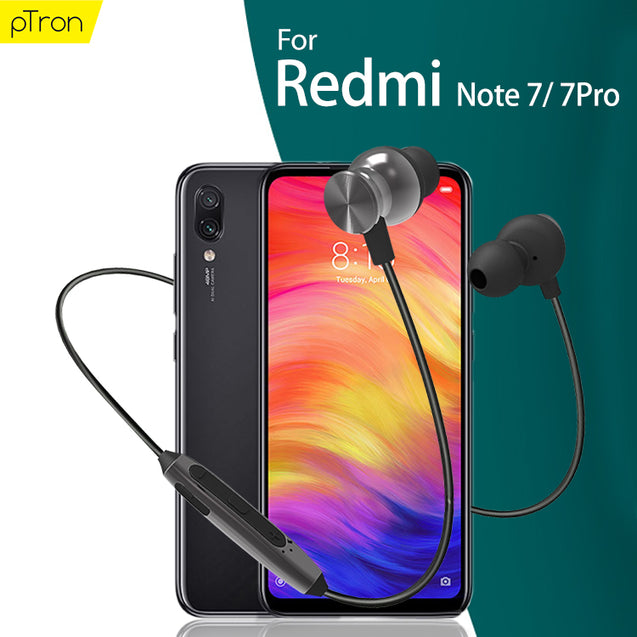 PTron InTunes Pro Magnetic Bluetooth Earphones With Mic For  Redmi Note 7/ 7 Pro (Grey/Black)