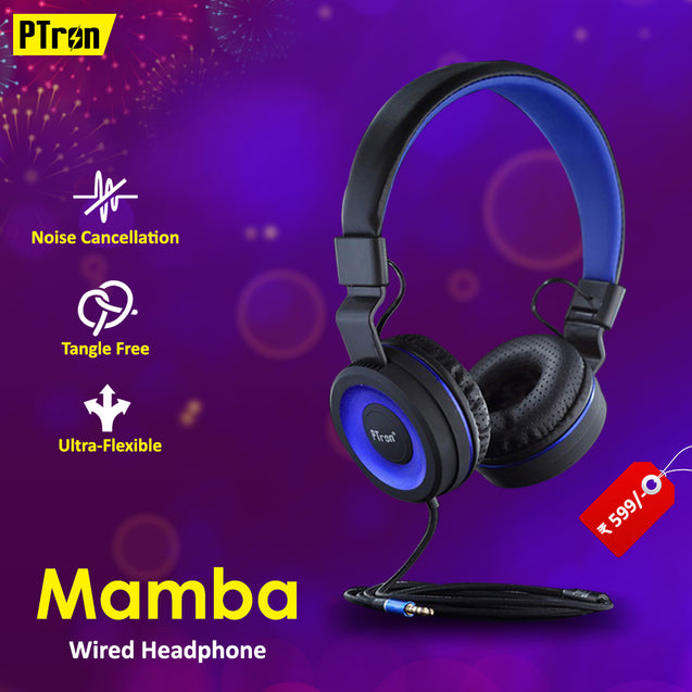 Best Combo Offer PTron Mamba Stereo Headphone Black/Blue,PTron Aero In-Ear Bluetooth Headset Blue,PTron 2 In 1 Micro & Lightning USB Data Cable Pink