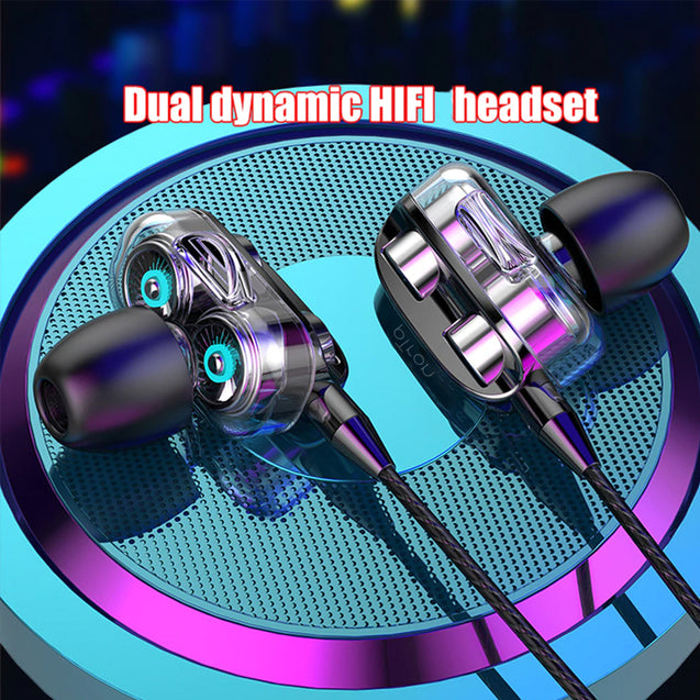 pTron Boom Pro 4D Deep Bass Dual Driver Wired Earphones with Mic for Redmi Note 5 / 5 Pro - (Black)