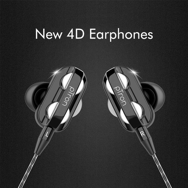 pTron Boom Pro 4D Deep Bass Dual Driver Wired Earphones with Mic for Redmi Note 6/ 6 Pro - (Black)