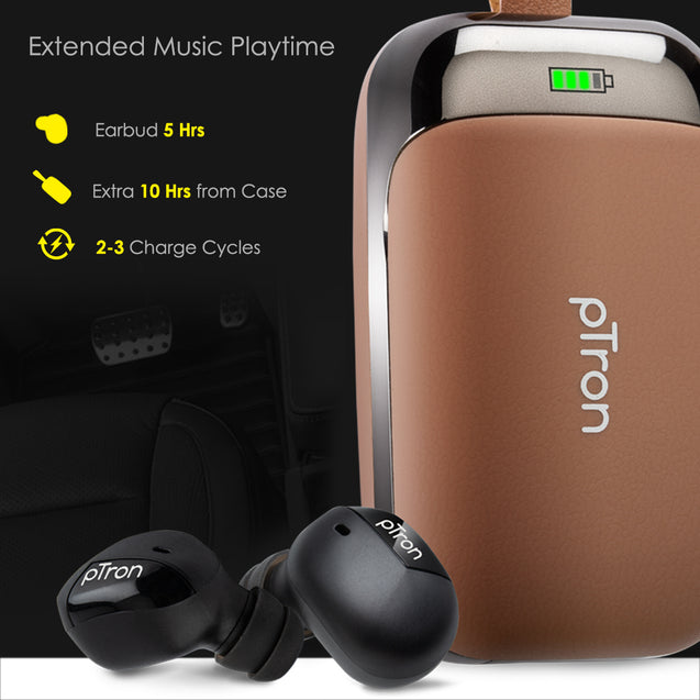 pTron Bassbuds Urban True Wireless Stereo Earphones with Deep Bass & Touch Control  For OnePlus 7/7T/7Pro(Brown)