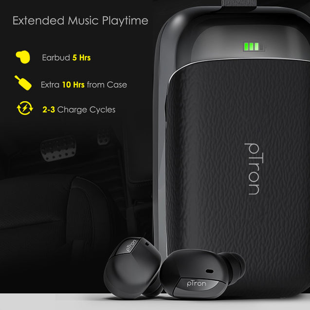 pTron Bassbuds Urban True Wireless Stereo Earphones with Deep Bass & Touch Control For All Redmi smartphones(Black)