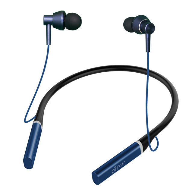 pTron InTunes Classic Wireless Headphones with 15Hrs Playback & Selfie Button - (Dark Blue)